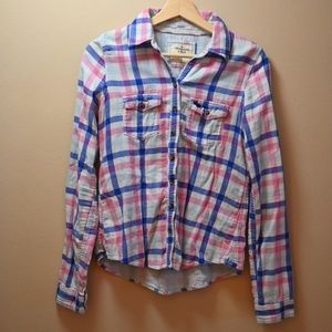 Abercrombie shirt, pink and blue, S